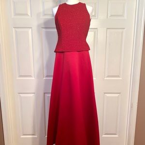 DEEP RED SATIN GOWN with GLITTER BODICE BY PADRA 6